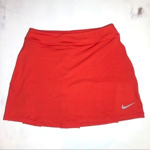 Nike Orange-Red Pleated Tennis Skirt